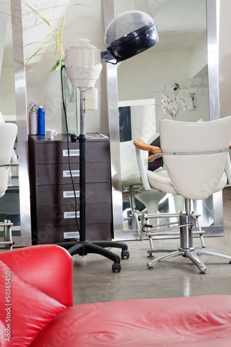 Hair Salon With Steamer And Chair