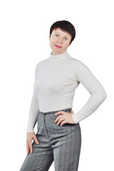 Shapely Woman Wearing White Knitted Turtleneck