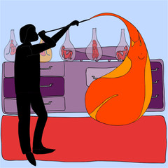 Glassblower and woman
