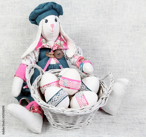 Easter Handmade Bunny with Decorated Eggs