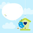 Blue Bird Cupcake Birdhouse Speech Bubble Sky