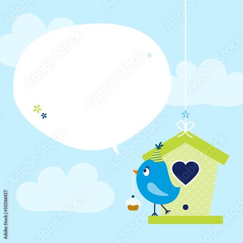 Blue Bird Cupcake Birdhouse Speech Bubble Sky