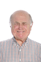 Frightened senior man crying, portrait