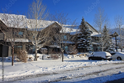 Condominiums in the snow