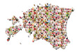 Portraits of a lot of people - map of estonia