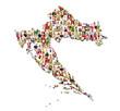 Portraits of a lot of people - map of croatia