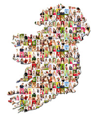 Portraits of a lot of people - map of ireland