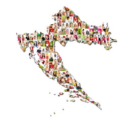 Portraits of a lot of people - map of croatia