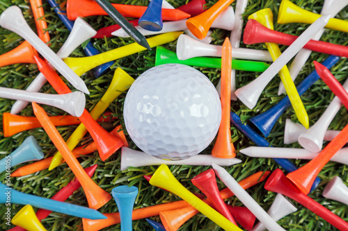 Golf ball and wooden tees collection.