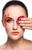 beautiful model with bright unusual creative makeup