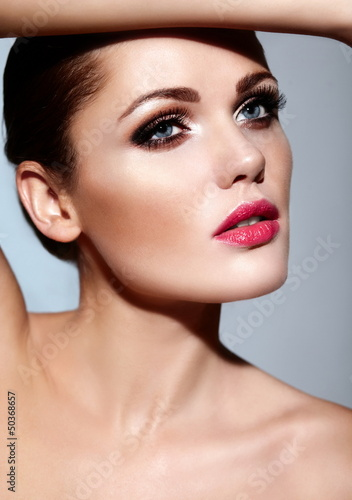 beautiful sexy model with bright makeup with perfect clean skin