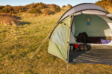 dome tent pitched in wilderness