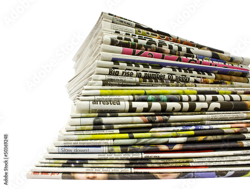 Stacked colour newspapers