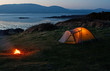 Leinwanddruck Bild - Tent near the beach
