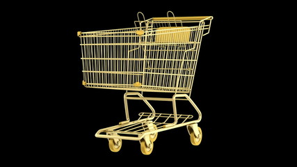 empty golden shopping cart loop rotate on black background