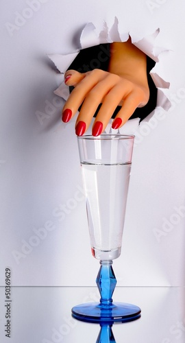 beautiful hand and glass isolated white background