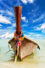 traditional Thai boat, against the blue sky