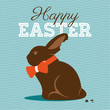Happy easter card with easter chocolate bunny