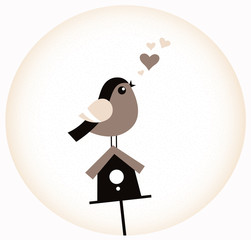 Cute Valentine Bird with a Birdhouse ( retro brown )