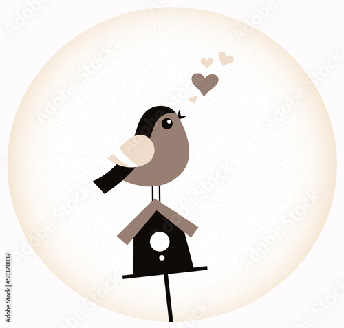 Cute Valentine Bird with a Birdhouse ( retro brown )
