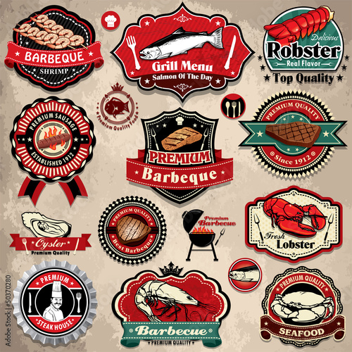 Vintage BBQ seafood steak labels, icons, badges template set