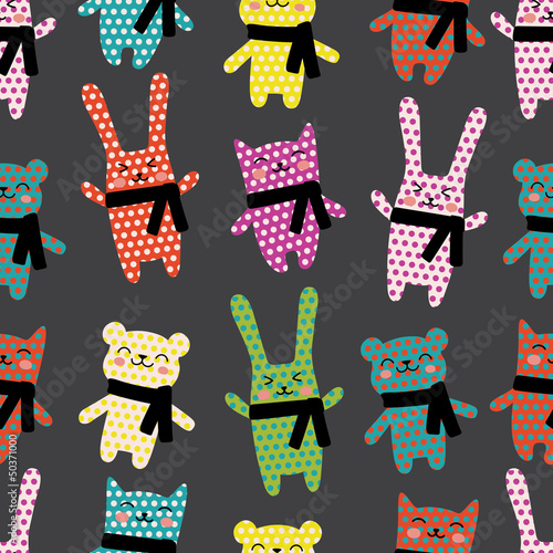 Cats, rabbits and bears seamless pattern