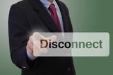 Geschäftsmann berührt touchscreen - Disconnect poster
