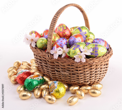 wicker basket with easter egg