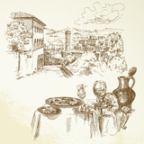 Tuscany, wine - hand drawn collection