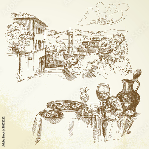 Obraz w ramie Tuscany, wine - hand drawn collection