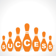 bowling pins make success word stock vector