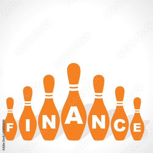 bowling pins make finance  word stock vector