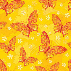 Seamless background with butterflys