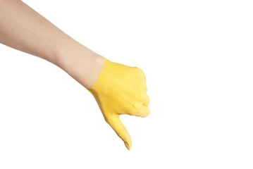 a yellow thumb down
