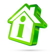 House Icon Information 3D White/Green