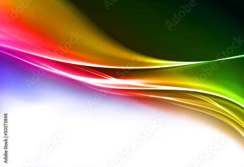Amazing bright pink and green wave on white background