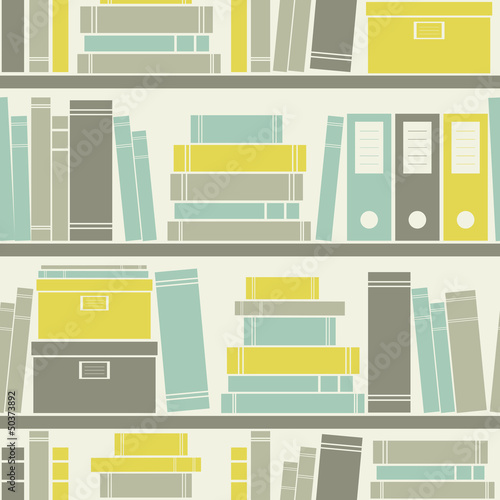 Sticker Seamless Bookshelves Pattern