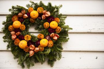 Pine Wreath with Orange Fruits