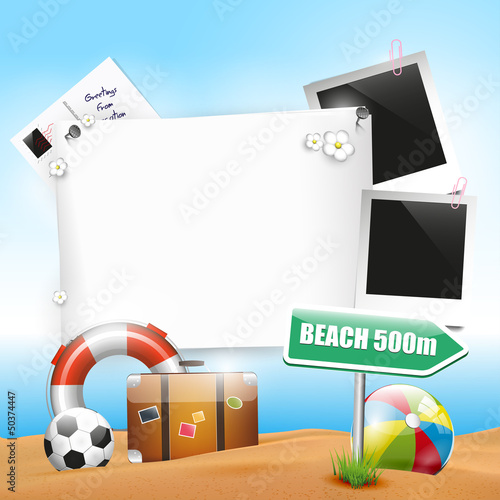 Summer holiday - background with empty paper