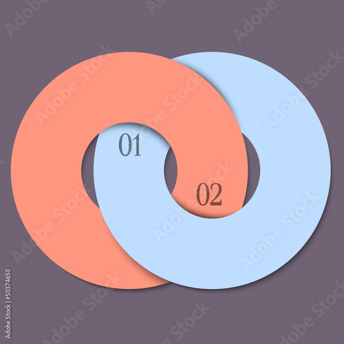 Two circles - trendy design template for infographics