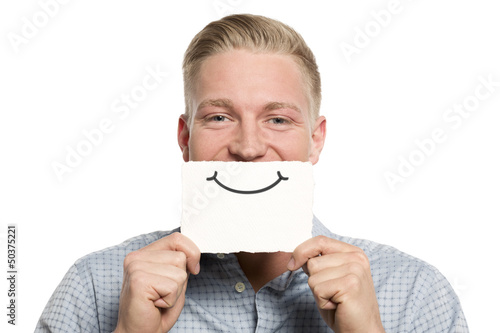 Friendly businessman presenting empty white card.