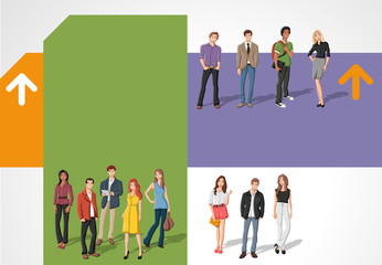 Colorful template for brochure with young people