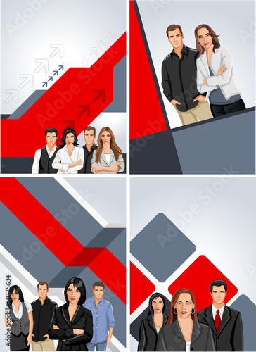 Red and gray template for brochure with business people