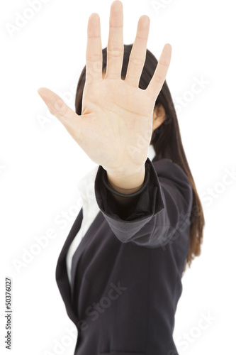 business woman making stop sign gesture