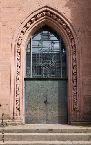 Entrance of Evangelical church (1864) in Offenburg, Germany