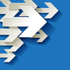 Pfeil Weiter Ecke Hintergrund blau Umweltschutz Papier