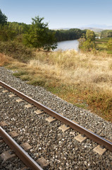 Rail road beside river