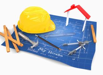 Mapa casa con casco, martillo y lápiz