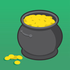 Pot of gold with many coins