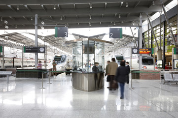 Railway station boarding area
